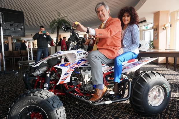 The Mayor of Bournemouth Cllr John Adams and mayoress Suzi have a go on one of the quad bikes appearing at Bournemouth Wheels Festival 2016